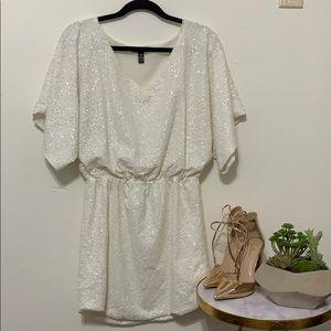 HOCO Prom White Sequins Dress